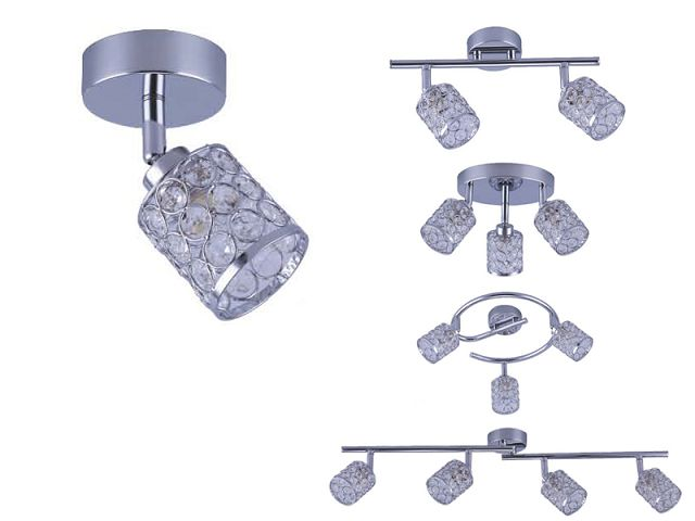Modern Polished Chrome 3 Way Round Plate Ceiling Spotlight AS-2028